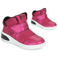 Scarpe Bambina Sneakers alte Geox J XLED GIRL Rosa / Fucsia / Nero