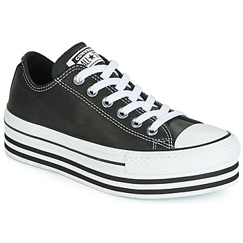 Scarpe Donna Sneakers basse Converse CHUCK TAYLOR ALL STAR LAYER BOTTOM LEATHER OX Nero / Bianco / Nero