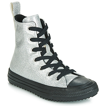 Scarpe Bambina Sneakers alte Converse CHUCK TAYLOR ALL STAR BOOT COATED GLITTER  HI Argento