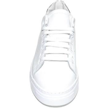 Scarpe Uomo Sneakers basse Malu Shoes Sneakers bassa uomo bianca in vera pelle riporto argento dietro BIANCO