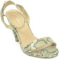 Scarpe Donna Sandali Malu Shoes Sandalo donna stampa pitonata beige fascetta sottile e cinturin BEIGE