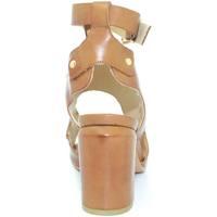 Scarpe Donna Sandali Malu Shoes Tronchetto donna cuoio estivo in simil pelle con cinturone cavi CUOIO