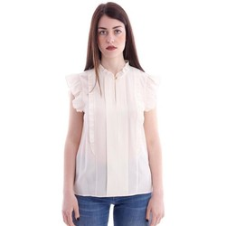 Abbigliamento Donna Camicie Tory Burch TOP IN SETA CON ROUCHES Off-White