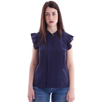 Abbigliamento Donna Camicie Tory Burch TOP IN SETA CON ROUCHES Blue