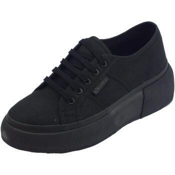 Scarpe Donna Sneakers basse Superga Total Black sneakers sportive donna tessuto nero zeppa bombata Black