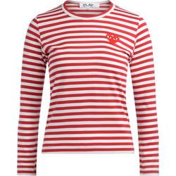 Abbigliamento Donna T-shirts a maniche lunghe Comme Des Garcons T-shirt a righe bianche e rosse Rosso