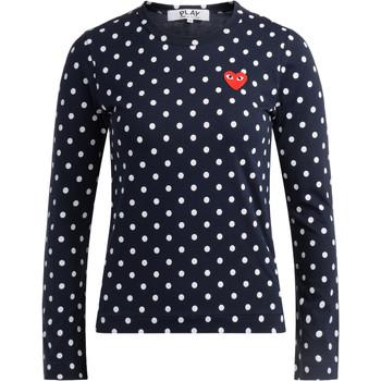 Abbigliamento Donna T-shirts a maniche lunghe Comme Des Garcons T-shirt  blu a pois bianchi Blu