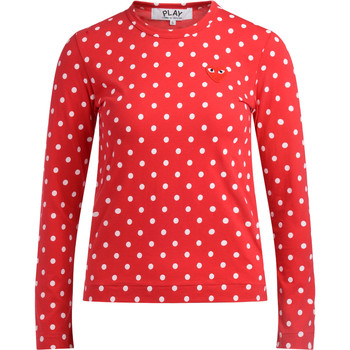 Abbigliamento Donna T-shirts a maniche lunghe Comme Des Garcons T-shirt  rossa a pois bianchi Rosso