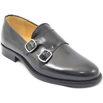 Scarpe Uomo Mocassini Malu Shoes Scarpe uomo con fibbia doppia nero sottile derby vintage in ver NERO