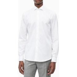 Abbigliamento Uomo Camicie maniche lunghe Calvin Klein Jeans k10k103182-structure-easy-iron 100-bianco