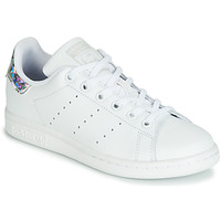 Scarpe Bambina Sneakers basse adidas Originals STAN SMITH J Bianco / Argento