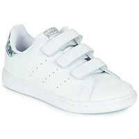 Scarpe Bambina Sneakers basse adidas Originals STAN SMITH CF C Bianco / Argento