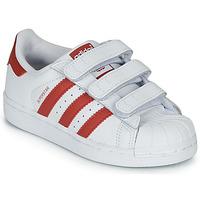 Scarpe Unisex bambino Sneakers basse adidas Originals SUPERSTAR CF C Bianco / Rosso