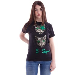 Abbigliamento Donna T-shirt maniche corte 5 Progress T-SHIRT CON STAMPA GATTO Black