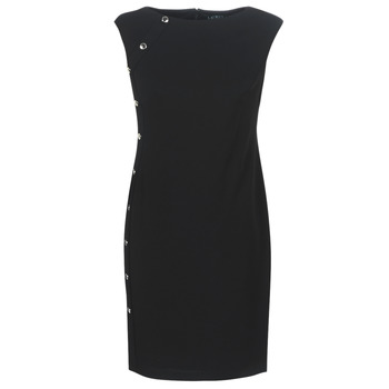 Abbigliamento Donna Abiti corti Lauren Ralph Lauren BUTTON-TRIM CREPE DRESS Nero