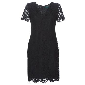 Abbigliamento Donna Abiti corti Lauren Ralph Lauren SCALLOPED LACE DRESS Nero