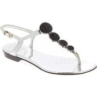 Scarpe Donna Sandali Barbara Bui sandali bassi da donna con critalli in pelle lam argento