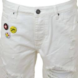 Abbigliamento Uomo Shorts / Bermuda Malu Shoes Pantoloni corti short uomo bermuda in denim jeans bianco con st BIANCO
