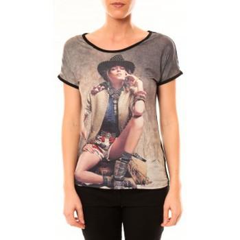 Abbigliamento Donna T-shirt maniche corte By La Vitrine Top Cowboy 1103 Noir Nero