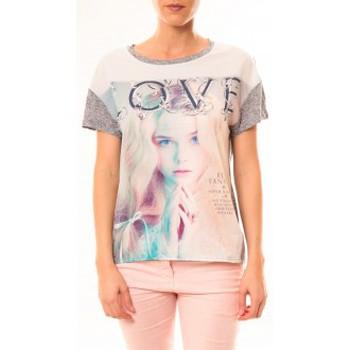 Abbigliamento Donna T-shirt maniche corte By La Vitrine Top Love B002 Gris Grigio
