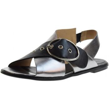 Scarpe Donna Sandali Poesie Veneziane scarpe donna sandali bassi 2312 ACCIAIO/NERO Pelle