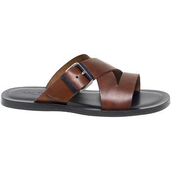 Scarpe Uomo Sandali Leo Pucci Sandalo  in pelle marrone e blu blu,marrone