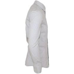 Abbigliamento Uomo Camicie maniche lunghe Malu Shoes Camicia uomo cotone bianco pois collo rigido manica lunga motiv BIANCO