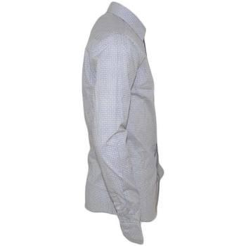 Abbigliamento Uomo Camicie maniche lunghe Malu Shoes Camicia uomo cotone bianco collo rigido manica lunga motivo ast BIANCO