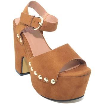 Scarpe Donna Tronchetti Malu Shoes Zeppa donna in nubuk scamosciato cuoio e borchie platform comod CUOIO