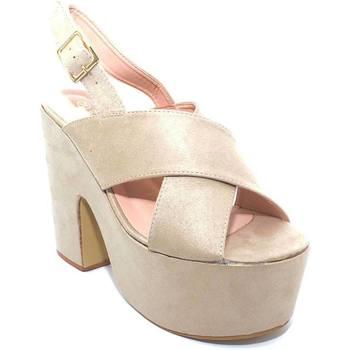 Scarpe Donna Tronchetti Malu Shoes Zeppe platform beige donna con tacco spezzato fascia incrociata BEIGE