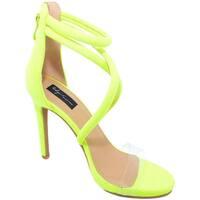 Scarpe Donna Sandali Malu Shoes Sandalo alto giallo fluo donna con fasce incrociate sul decolle GIALLO