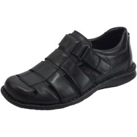 Scarpe Uomo Sandali Zen sandali semichiusi uomo in pelle nera regolazione a strappo Nero