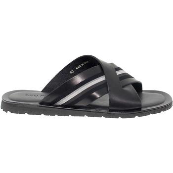 Scarpe Uomo Sandali Leo Pucci Sandalo  in pelle e tessuto nero e blu blu,nero