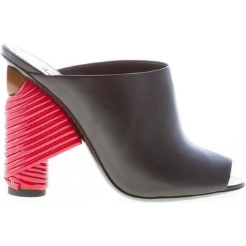 Scarpe Donna ciabatte Balenciaga donna sandalo in pelle NERO con tacco rosso intrecciato nero