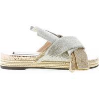 Scarpe Donna Espadrillas N°21 donna sandalo slide in pelle effetto glitter ORO e ARGENTO multicolore