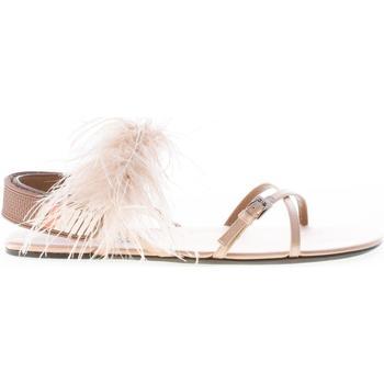 Scarpe Donna Sandali Prada donna sandalo in raso NATURALE con piume beige
