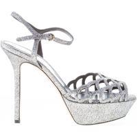 Scarpe Donna Sandali Sergio Rossi donna sandalo in pelle effetto glitter ARGENTO Tacco 13 cm argento