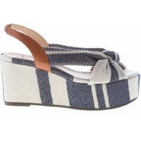 Scarpe Donna Sandali Castaner donna sandalo in lino a strisce BLU e beige con nodo blu
