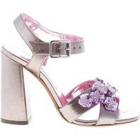 Scarpe Donna Sandali L'autre Chose donna sandalo in canvas PIOMBO fiori viola Tacco 11 cm grigio