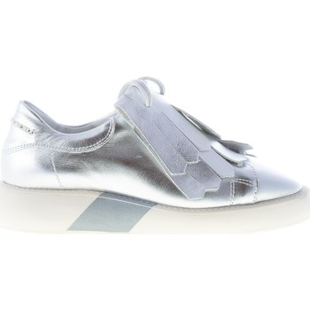 Scarpe Donna Slip on Manuel Barcelo donna sneaker Emerald in pelle laminata ARGENTO frangia argento