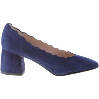 Scarpe Donna Décolleté Il Borgo Firenze decolletè in camoscio BLU profilo smerlato. Tacco 5,5 cm blu