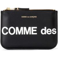 Borse Donna Porta monete Comme Des Garcons Bustina  Huge Logo in pelle nera Nero