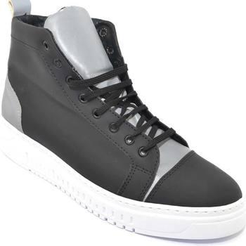 Scarpe Uomo Sneakers alte Malu Shoes Sneakers alta uomo in tessuto gommato nero e catarifrangente ri NERO