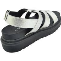 Scarpe Donna Sandali Malu Shoes SANDALI BASSI DONNA NERI COMFORT CON SUOLA ANTISCIVOLO FASCETTE ARGENTO