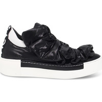 Scarpe Donna Slip on Vic Sneakers  in pelle e nylon nero e bianco bianco,nero