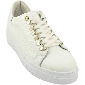 Scarpe Uomo Sneakers basse Malu Shoes Sneakers bassa uomo bianca in pelle cocco stampa p7 con ganci a BIANCO