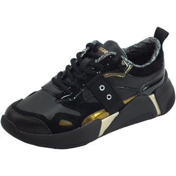 Scarpe Donna Sneakers basse Blauer lauer Monroe01 Blk Black Sneakers donna pelle nera laminato oro Black