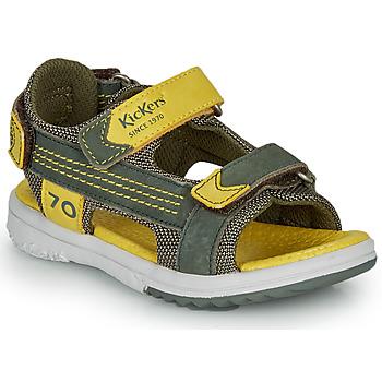 Scarpe Bambino Sandali Kickers PLANE Kaki / Giallo