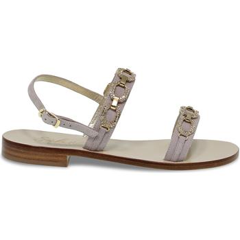 Scarpe Donna Sandali Capri Sandalo basso  POSITANO in camoscio e crystal grigio e oro grigio,oro