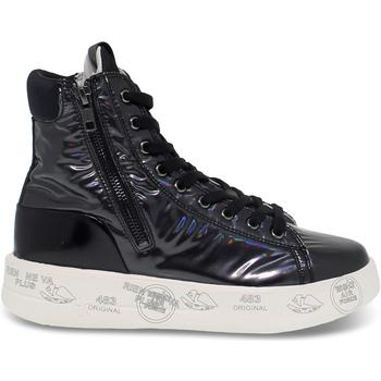 Scarpe Donna Sneakers alte Premiata Polacco  EDITH in vernice e camoscio nero nero